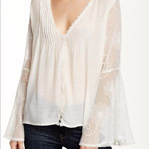 LOVE STITCH Sheer Lace Ivory Bell Sleeve Top